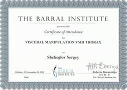 Сертификат по висцеральному массажу — 2012г